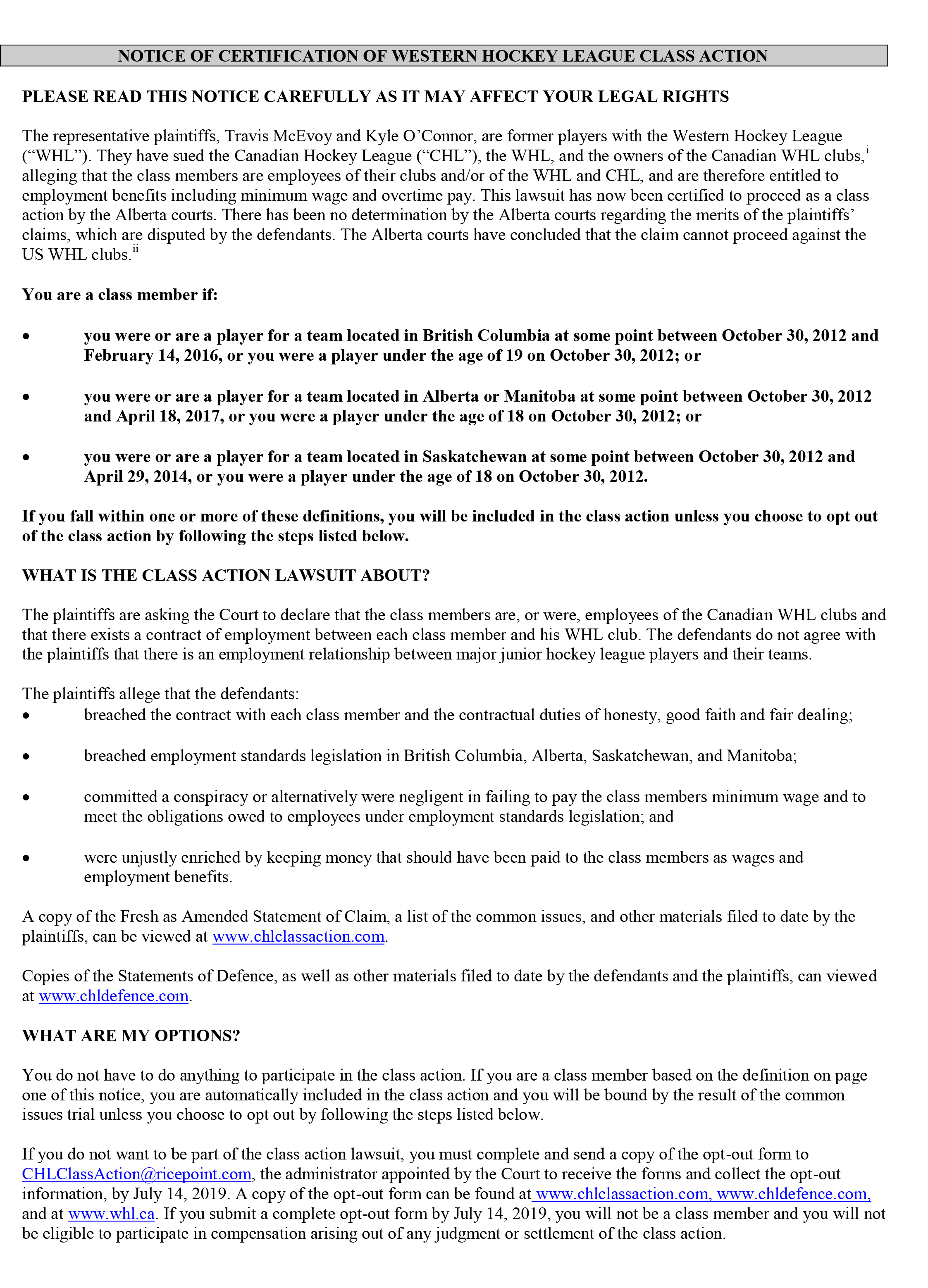 NOTICE OF CERTIFICATION OF WESTERN HOCKEY LEAGUE CLASS ACTION-1